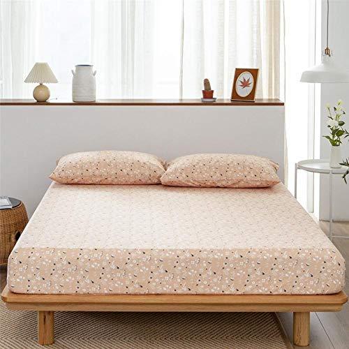 Nuoxuan Bedding Sábana Bajera Ajustable,Sábanas Estampadas de algodón, Funda Protectora Antideslizante para dormitorios de Apartamentos para Hombres y Mujeres-Rosa_El 180x200cm