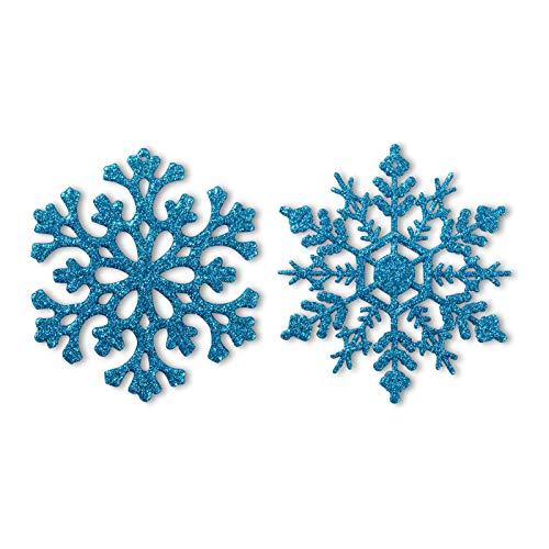 Glitter Snowflake Ornaments Plastic Christmas Tree Decorations 4.7''/30CT Christmas Hanging Decorations with Silver Rope for Wedding Birthday Home Xmas Tree Window Door Accessories(Light Blue)