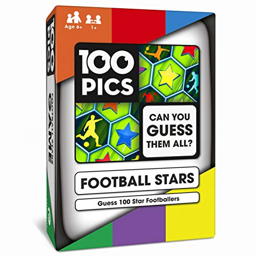 100 PICS Football Stars Travel Game - Guess 100 Players, Flash Card Quiz, Pocket Puzzles For Kids And Adults