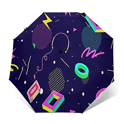 Parapluie Pliant, Parapluie Pliable Automatique Ouverture Et Fermeture Résistant à Tempête Compact Léger Parapluie De Voyage pour Homme Et Femme Jeu des années 80 80