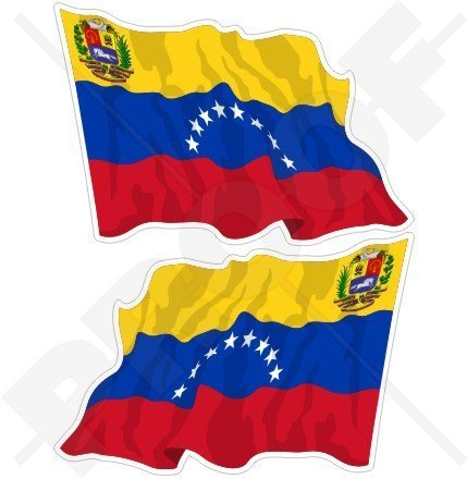 VENEZUELA Venezolanische Wehende Flagge, Fahne SÜDAMERIKA 120mm Auto & Motorrad Aufkleber, x2 Vinyl Stickers (Links - Rechts)
