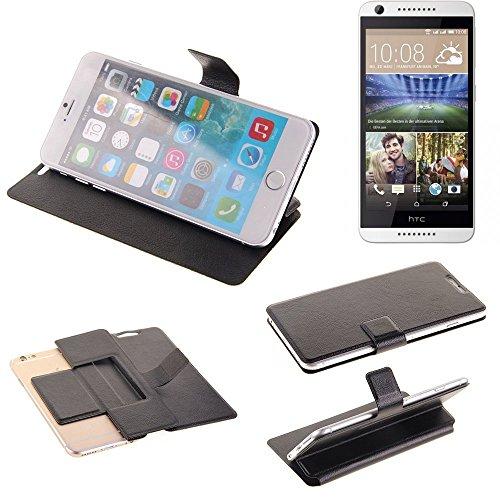 K-S-Trade® Handy Schutz Hülle Für HTC Desire 620G Dual SIM Flip Cover Handy Wallet Case Slim Bookstyle Schwarz