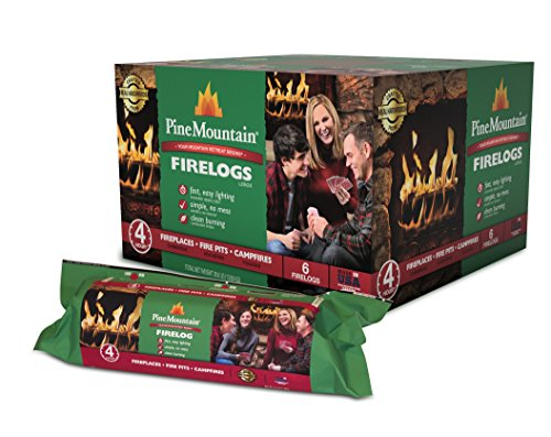 Pine Mountain Traditional 4-Hour Firelog, 6 Logs Long Burning Firelog for Campfire, Fireplace, Fire Pit, Indoor und Outdoor Use