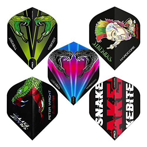 RED DRAGON Peter Wright Snakebite Sortiertes Hardcore Flight Pack - 5 Sätze pro Packung