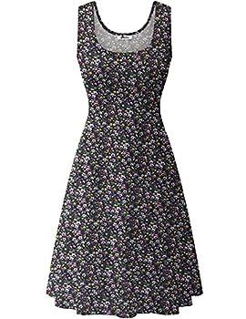 Herou Women Summer Casual Floral Sleeveless A-Line Sun Dresses Flower-5 X-Large