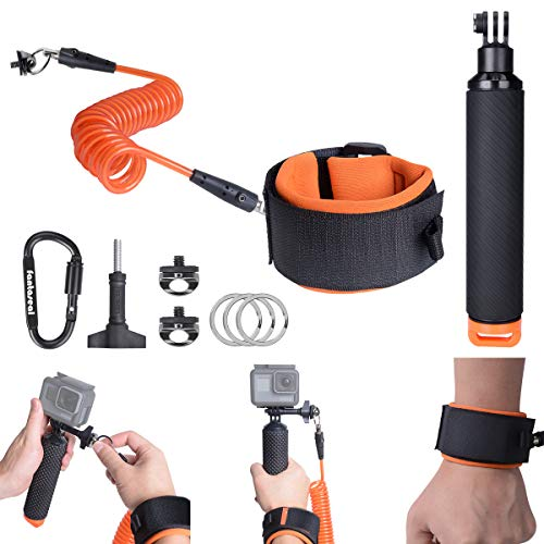 Waterproof Action Camera Floating Hand Grip + Steel-cored Anti-Loose Dive Wrist Strap Safety Tether for GoPro Accessories Sony Olympus Underwater Sports Motion Camcorder DivingSurfing Snorkeling