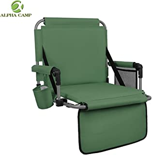 ALPHA CAMP Stadium Seat Padded Chair for Bleachers with Back& Arm Rest