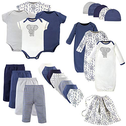 Touched by Nature Baby Organic Cotton Layette Set and Giftset, Elephant, 0-6 Months