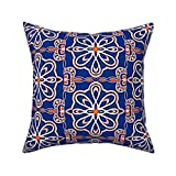 Yuanmeiju Square Cushion Cover,Contemporary Moroccan Style Tiles,45x45cm Cotton Sofa Throw Funda de Almohada Set Home Decoration for Bedroom, Living Room, Couch, Car