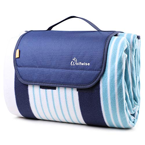 WolfWise Outdoor Warm Fleece Blanket 79'x79' XXL Picnic Blanket Extra Large with Waterproof Backing for Camping Festival Sporting Events (Blue/Navy)