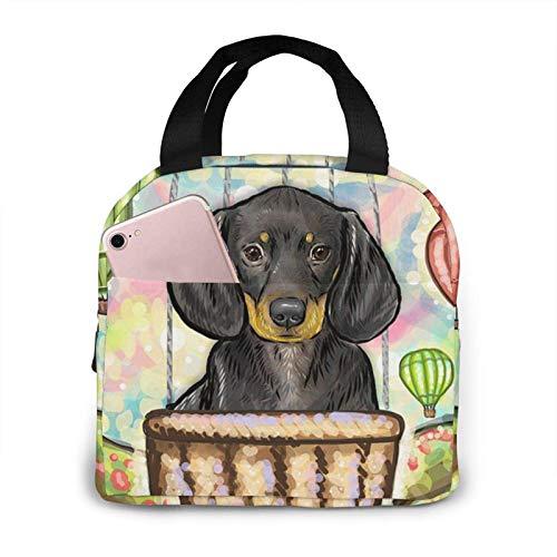 Hdadwy Bolsa de almuerzo con globo de aire caliente para perro salchicha, bolsa de asas, caja de almuerzo, contenedor de almuerzo aislado para mujer y hombre