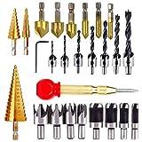 26 herramientas de perforación de chaflán, 6 brocas avellanadoras 7 brocas avellanadas de tres puntas con llave en L, 8 cortadores de madera, 3 brocas de paso y 1 punzón central