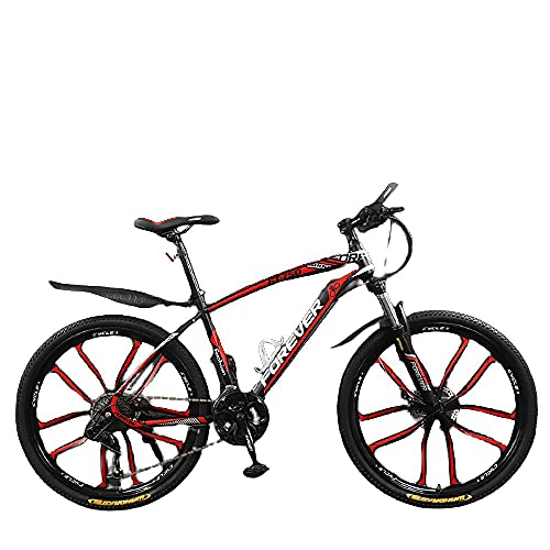 Bicicleta, Niños Y Niñas, Fuerte Veloz Rápido, Vehículo Todoterreno De La Montaña-Diez Cuchillo Negro Rojo_24 Pulgadas 30 Velocidades,Bicicleta Montaña Adulto