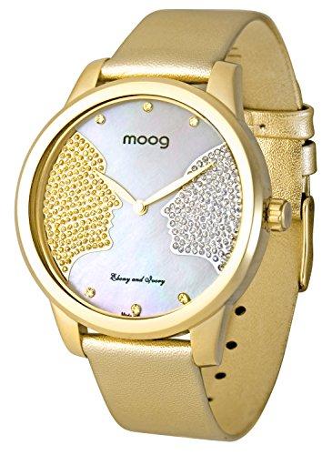 Moog Paris Ebony and Ivory Reloj para Mujer con Esfera Nácar Blanca, Correa Dorada de Piel Genuina y Cristales Swarovski - M45612-007