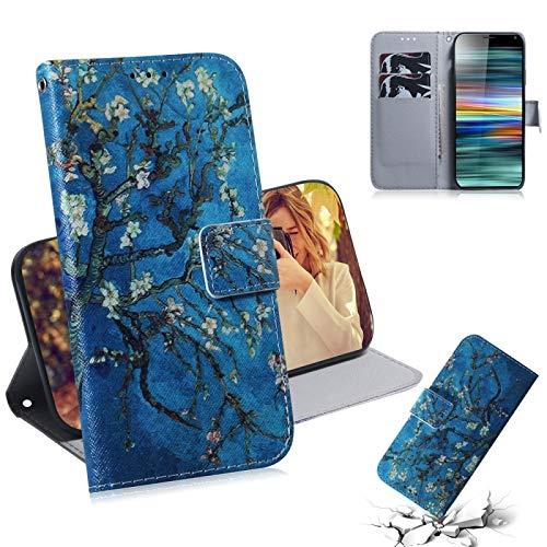 Liaoxig Fundas Sony Estuche de Cuero con diseño Horizontal y Estampado de Flores de Albaricoque para Sony Xperia 10, con Soporte y Ranuras para Tarjetas y Cartera Fundas Sony