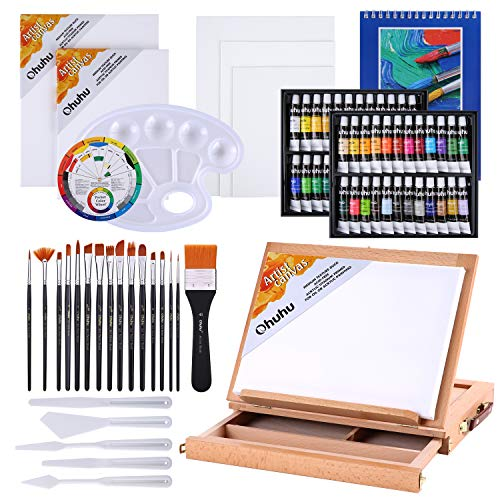 Juego de pintura acrílica, Ohuhu 78 piezas Juego de artista con 48 tubos de pintura acrílica, caja de caballete de mesa de madera, pinceles y almohadillas para pintura artística