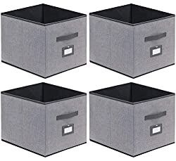 top 10 ikea fabric bins Only easy Cloth Storage Bin Foldable Cube Storage Basket, 4 pcs – Organizer Cross Container…