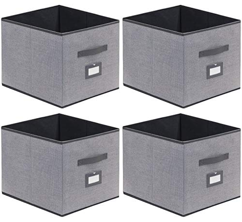homyfort Caja de Almacenaje Set de 4 Cajas de Juguetes, Caja de Tela para Almacenaje con Cuero maneja y Etiqueta, 33 x 38 x 33 cm, Gris Lino, XDBXL04PLP