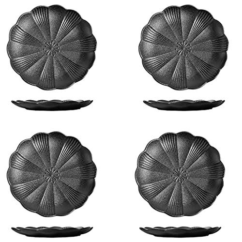 sararui Placas de Cena de cerámica Conjunto de 4 Placas de Postre Negras Elegantes Mate Sirviendo para Ensalada de Carne Pasta y Postre Juego de vajillas Estilo japonés (Lotus)