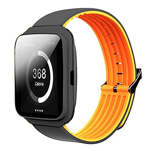 Reloj inteligente con monitor de frecuencia cardíaca, monitor de sueño, pulsera de actividad deportiva, informal, color naranja