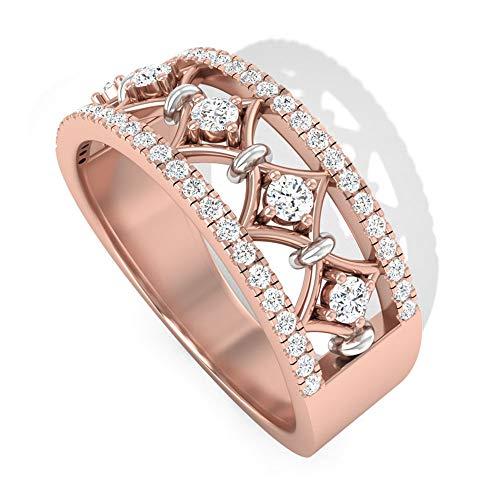 Art Deco 0,38 CT IGI Anillo de novia de diamante certificado, sólido de oro de 14 K grabado para mujer, anillo de aniversario, 18K Oro rosa, Size:EU 48