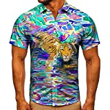 LXTOPN 3D Tigre Camisa hawaiana 100% microfibra estampada 3D, impresión casual de manga corta hawaiana flor shirt unisex (B,2XL)