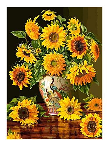 Without Pflanze Sonnenblumen Acrylfarbe Ölgemälde nach Zahlen handgemalt auf Leinwand Home Wandkunstdekoration (Color : 215, Size(cm) : 30x40cm DIY Frame)