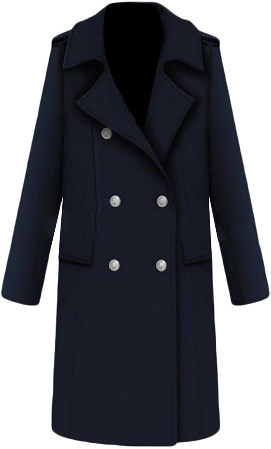 Doanpa Women's Fitted Vintage Wool Blends Cashmere Winter Maxi Pea Coat
