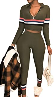 Women Casual Two Piece Outfits Tracksuits - Sexy Stripe Crop Tops High Waisted Pants Set Sportswear