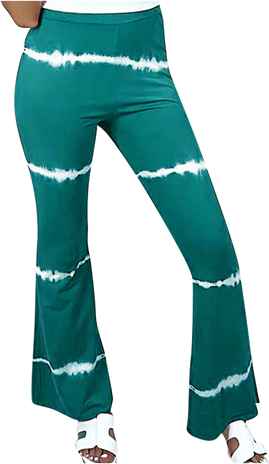 VonVonCo Flare Pants for Women Casual Elastic Girdle Waist Wide Leg Pants Trousers Stretch Printed Horn Blue Small