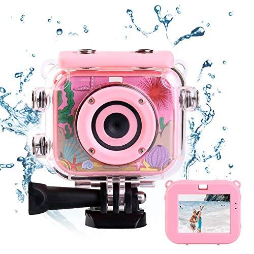 WooyMo Kinder Unterwasserkamera, 12MP 1080P wasserdichte Digitalkamera Kinder Action Camcorder mit 2,0 Zoll HD-Bildschirm, Unterstützung 32GB SD-Karte für Kinder, Jungen, Mädchen Schwimmen