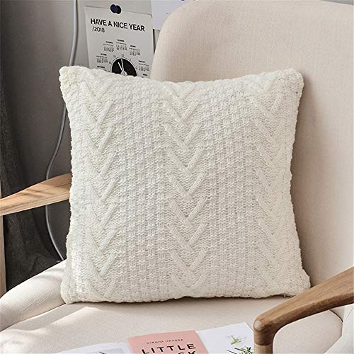 Jianghuayunchuanri Home Decorations Decorative Pillow Covers Set of 2 Throw Pillows Covers Hidden Zipper Cushion Cover Square for Sofa Couch Bench Decor for Sofa Couch (Color : White, Size : 45x45cm)