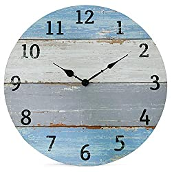 NIKKY HOME Vintage Coastal Wall Clock - 16 Inch Battery Operated Silent Non Ticking Rustic Shiplap Wood Beach Blue Clock Home Decor for Kitchen, Living Room, Bedroom, Office