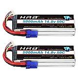HRB 2PCS 4S 5000mAh 14.8V 50C Lipo RC Batterie avec Prise EC5 pour Traxxas Slash X-Maxx RC Evader BX Voiture Buggy Truggy Crawler Monster Voiture Hélicoptère Avion FPV Racing