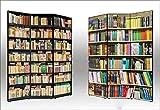 Separè Paravento bifacciale Librerie in Tela di Cotone e Legno - Alta qualità | 3 Pannelli: 135,6 x 176 x 3,1cm