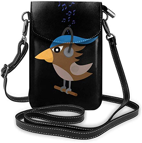 Fenmeegy Small Crossbody Bags Birds In Headphones Listen To The Music Cell Phone Purse With Credit Card Slots Wallet Shoulder Bag For Women And Teen Girls