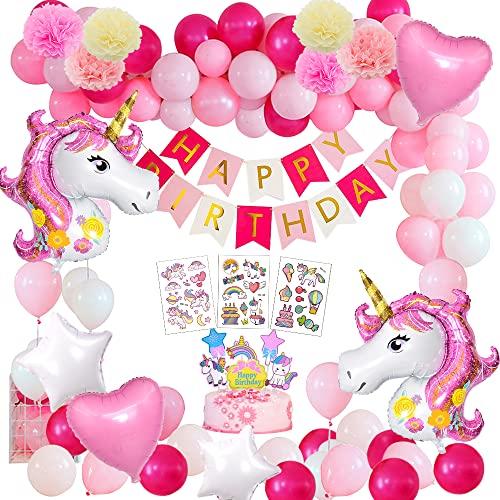 Unicorno Festa Compleanno Decorazioni Ragazze, Kit Palloncino Compleanno Unicorno con Palloncini Unicorno Gigante,Cake Topper ,Tatuaggi,Striscione Buon Compleanno per Decorazioni Compleanno Bambina
