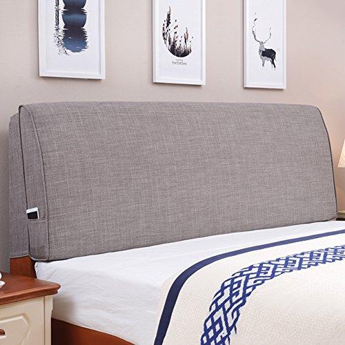 DNSJB - Cojín para cabecero de cama (tamaño grande, lavable, incluye cabecero, 5 colores, 7 tamaños), algodón y forro, gris, 180 cm