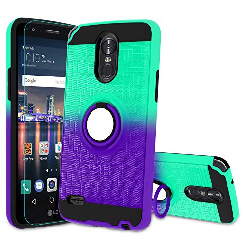 Atump LG Stylo 3 Phone Case,LG Stylo 3 Plus, Stylus 3 Case with HD Screen Protector, 360 Degree Rotating Ring Holder & Kickstand Bracket Phone Case Cover for LG LS777 Mint/Purple