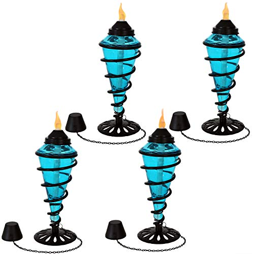 Sunnydaze Swirling Metal with Glass Tabletop Torches, Outdoor Patio and Lawn Citronella Torch, Set of 4, Blue