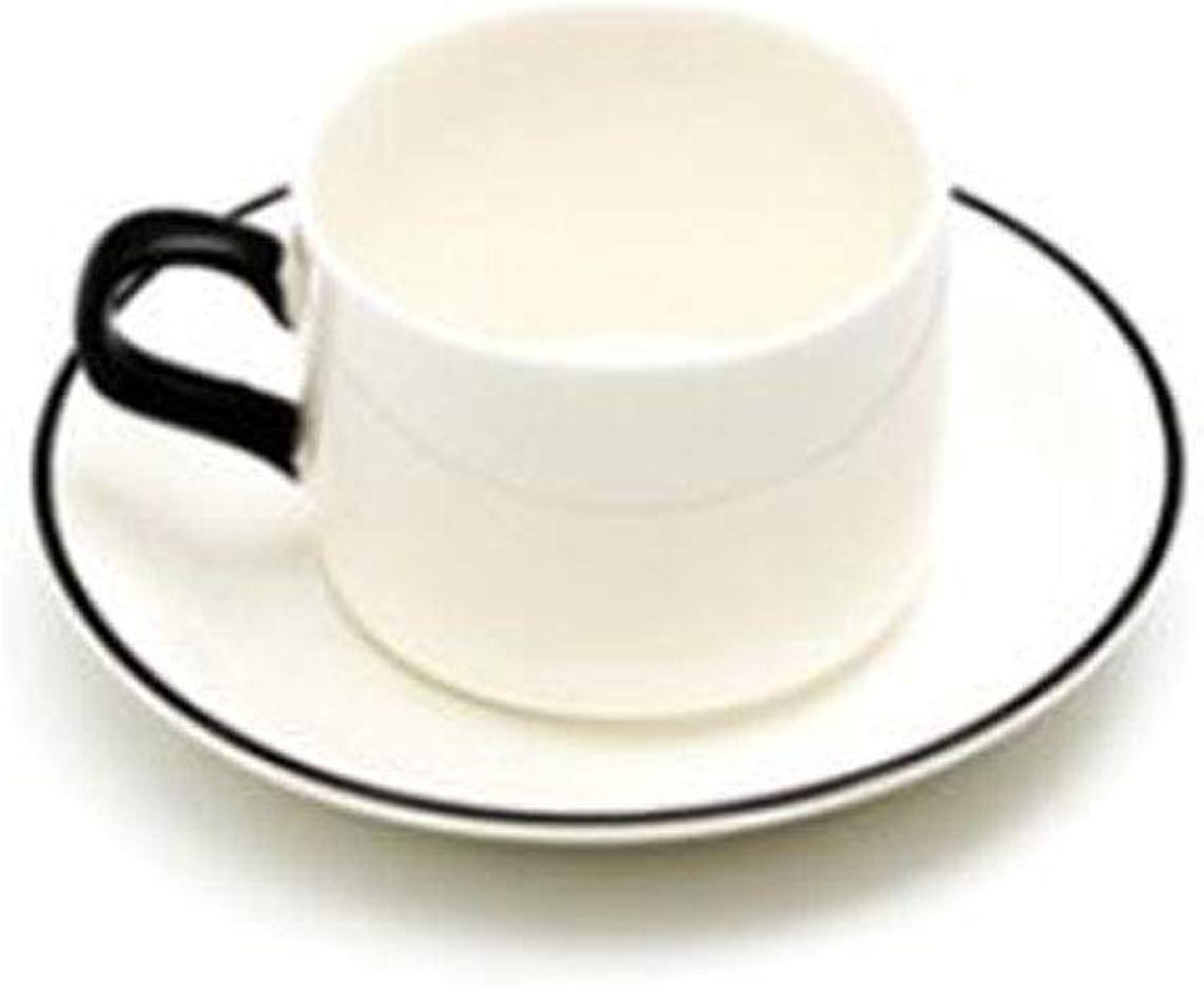 Haoyushangmao Tasses à café, ensembles de tasses à thé et soucoupes, Céramique simple, ensemble de tasses à café en porcelaine coréenne de style européen, ensembles de 4 tasses et 4 plats [avec suppor