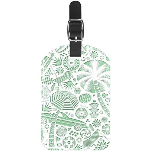 Gepäckanhänger hellgrün Auto Regenschirm Gitarre Leder Reise Koffer Etiketten 1 Packung