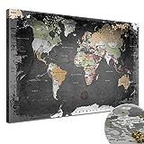 LANA KK - Weltkarte Leinwandbild mit Korkrückwand zum