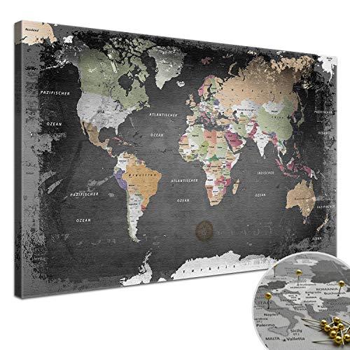"""LANA KK - Weltkarte Leinwandbild mit Korkrückwand zum pinnen der Reiseziele – """"Weltkarte Graphit� - deutsch - Kunstdruck-Pinnwand Globus in schwarz, in 100x70cm"""