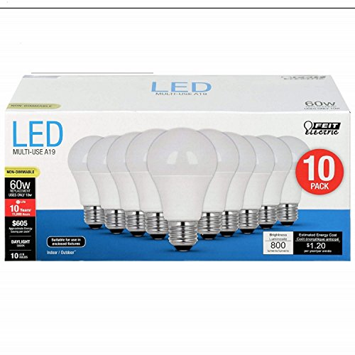 Feit Electric FEIT 60W LED Bulbs Non Dimmable 800L 5K 10PK, Soft White