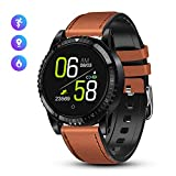 GOKOO Smartwatch Smart Watch da uomo Bluetooth Sport Watch Cinturino in pelle con cardiofrequenzimetro IP68 Smart Watch Fitness Activity Tracker per Android iOS - Marrone