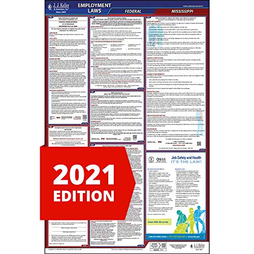 2021 Mississippi Labor Law Poster, All-In-One OSHA Compliant MS State & Federal Laminated Poster (26