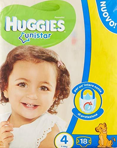 Huggies Unistar - Pañales, talla 4 (7-14 kg), 1 paquete de 18 pañales, 18 unidades