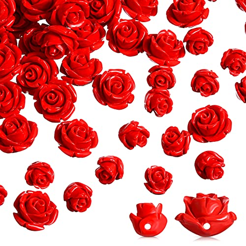 120 Pieces Red Rose Cinnabar Carved Beads 8 mm 12 mm Rose Charms Loose Carved Prayer Beads Spacer Charms for Buddha Mala Jewelry Making Necklace Bracelet Supplies