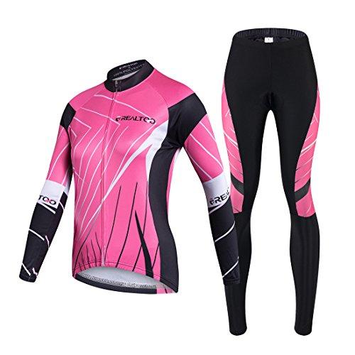 GWELL Damen Atmungsaktiv Radtrikot Set Fahrrad Trikot Langarm + Radhose mit Sitzpolster Rosa XL